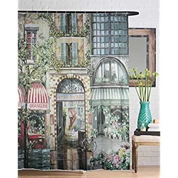 Goodbath Mildew-Free Water-Repellent Polyester Shower Curtain 72 Inch by 72 Inch, City Garden