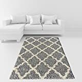 Soft Shag Area Rug 3x5 Moroccan Trellis Grey Ivory Shaggy Rug - Contemporary Area Rugs for Living Room Bedroom Kitchen Decorative Modern Shaggy Rugs