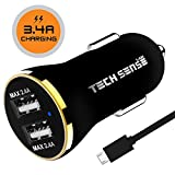 #6: Tech Sense Lab CE & FCC Certified, 3.4A Dual USB Fast Car Charger Includes 1 Micros USB Cable Rated At 480mbps (Black n Gold)