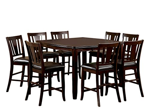Furniture of America Frederick 9-Piece Square Counter Height Table Set with 16-Inch Expandable Leaf, Espresso Finish (9 Piece Espresso Dining Set compare prices)