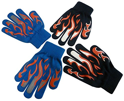 N'Ice Caps Boys Magic Stretch Glove 2 Pair Pack Assortment (4-14yrs, navy/royal/white/grey)