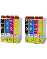 IC4CL46 2パックセット (4色×2パック=合計8個) ICチップ付き 残量表示可能 高品質 個別包装 EPSON 互換インク [ZAZブランドオリジナル] [Amazon認定FFPパッケージ(D)]