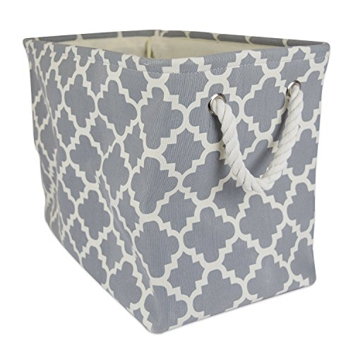 DII Printed Polyester, Collapsible and Convenient Storage Bin To Organize Office, Bedroom, Closet, Kid's Toys, & Laundry - Large Rectangle, Gray Lattice (Laundry Large Basket compare prices)