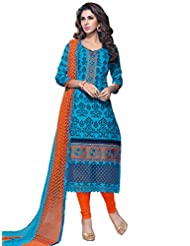 DivyaEmporio Women's Cotton Resham Salwar Suit Dupatta Unstitched Dress Material (Blue_Free Size)