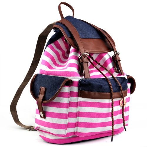 TRIXES Women's Pink Stripe Canvas Backpack for Fashion Leisure or School
