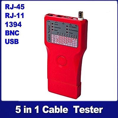 Optimal Shop Multi 5-in-1 Remote RJ45 RJ11 BNC 1394 USB LAN Network Phone Cable Tester Meter