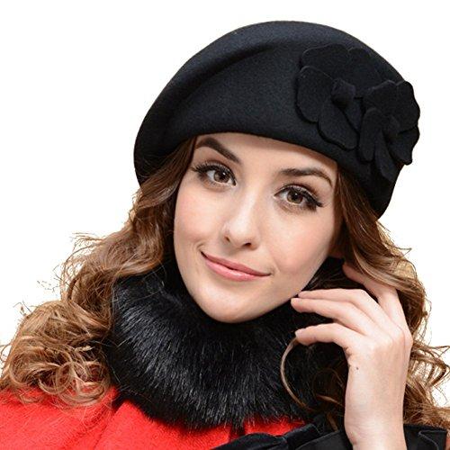 TININNA Moda francese Fiori Beret Beanie Hat Secchio Feltro di lana Cappello Benna Berretto per donne ragazze signore Nero