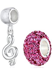 CHARMED BEADS Sterling Silver Music Clef and Pink Crystal Bead Charm Set