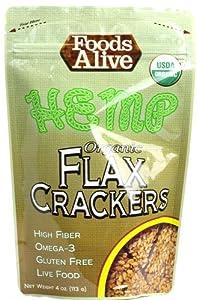 Foods Alive Organic Flax Crackers Hemp -- 4 oz