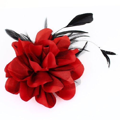 Ladies Wedding Party Black Red Mesh Flower Design Hairclip Brooch