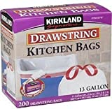 Kirkland Signature Drawstring Kitchen Bags Garbage bags Trash Bags 13 Gallon 200 Count