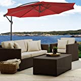 10' Hanging Umbrella Patio Sun Shade Offset Outdoor Market W/Corss Base Burgundy