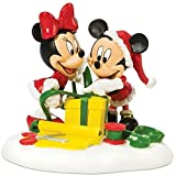 Department 56 Disney Village Accessory Figurine, Mickey and Minnie Wrapping Gifts