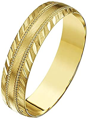 Theia 9ct Gold Heavy Weight Millgrain Centre and Diagonal Design Edge DShape Wedding Ring for Men or Women