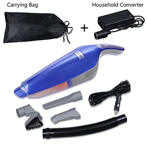 Car Vacuum Cleaner 12V 130W Wet&Dry Handheld Portable Home Dual-purpose Vehicles Auto Vacuum Cleaner with 14.8 Ft Power Cord + Household Converter + Carrying Bag (Blue) (Auto Home Vacuum compare prices)