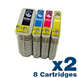 8 x HP 88 Remanufactured Cartridges - Pack contains 2 each of Black (C9396AE), Cyan (C9391AE), Magenta (C9392AE), Yellow (C9393AE)- for use with HP Officejet Pro K5400 Series, K550 Series, L7000 Series Printers - Refresh Cartridges