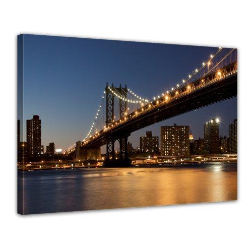 Bilderdepot24 Leinwandbild New York Bridge - 70x50 cm 1 teilig - fertig gerahmt, direkt vom Hersteller