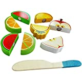 Trinkets & More - Wooden Fruit Cutting Set (10 Pieces) Toy | Realistic Sliceable Fruits Play Toy Set With Velcro | Cooking Play House Set With Cutting Board And Knife | Educational Toys Kids 3 + Years