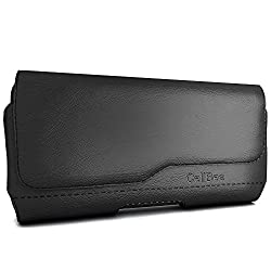 iPhone SE Holster, CellBee Premium PU Leather Pouch Carrying Case with Belt Clip Belt Loops Holster (Perfect Fits with Otterbox/Spigen/Lifeproof Case on) (Fashion)