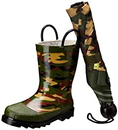 Western Chief Camo Boot and Umbrella Set (Toddler/Little Kid),Green,7-8 M US Toddler