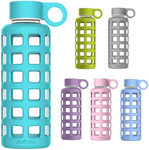 Premium Glass Water Bottle with Silicone Sleeve, 12oz, By purifyou - Made From Borosilicate Glass, Insulated, Light Weight, Portable, BPA Free, Leak Proof & Reusable - Small and Great for Kids, Hot & Cold Tea, Home & Kitchen, Sports, Fitness, Camping, Outdoors & Yoga (Aqua Blue, 12 oz) Miu Miu Bags Light