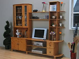 massive wohnwand tv wand vitrinenwand in kiefer gelaugt. Black Bedroom Furniture Sets. Home Design Ideas