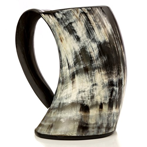 Original Viking Drinking Horn Cup Tankard W/ Stand By Thor Horn| Complete W/ Authentic Medieval Burlap Gift Sack| Drink Beer Like A True Viking In Valhalla W/ Our Horn Mug (Beer Mugs Medieval compare prices)