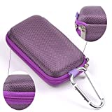 Case Star ® Rectangle-Shaped Hard EVA Case Bag and Silver Color Climbing Carabiner for Belkin Speaker and Headphone Splitter Earphone Headset MP3/MP4 Bluetooth Earbuds with Mesh Pocket, Zipper Enclosure, and Durable Exterior with Case Star Cost-free Velvet Cell Phone Bag (Rectangular Case - Light Purple)
