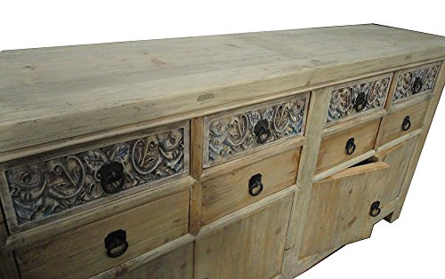 Chinese Vintage Natural Finish Carving Sideboard Buffet Cabinet Acs1147 3