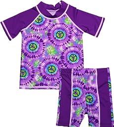 grUVywear UV Protective (UPF 50+) 2 Piece Set Baby Girl Swimsuit (0-6M, Purple Peace)