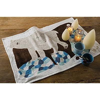 今治タオル ランチョンマット ミウ ティータオル シロクマ (白夜の夜に) ブルー 45×70cm