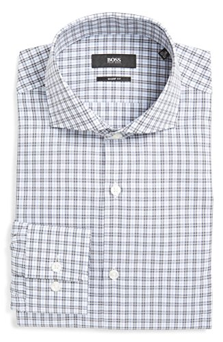 Hugo Boss Mark Sharp Fit Check Dress Shirt (Dark Grey, 16.5 34/35)