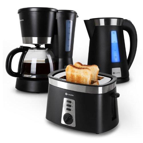 Klarstein sunday morning set petit d jeuner avec cafeti re bouilloire et grille pain noir - Ensemble grille pain bouilloire ...