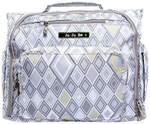 Ju-Ju-Be B.F.F. Versatile Messenger and Backpack Diaper Bag with Insulated Bottle and 6 Zippered Pockets, Silver Ice from Ju-Ju-Be