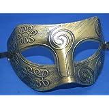 Mens Adult Gold Masquerade Greek Roman Facial Mask For Fancy Dress Masked Ball