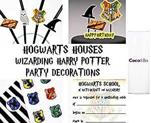 5 x Coco&Bo - Magical Wizarding Black & Gold Party Cups - Harry Potter Hogwarts School Theme Disposable Party Decorations Table Accessories