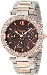 Freelook Women's HA1539RGM-2 Brown Chronograph Dial Rose Gold Swarovski Bezel Watch