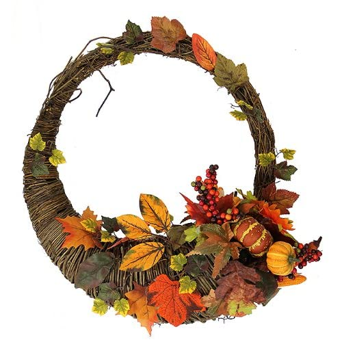 20 Autumn Harvest Artificial Cornucopia Thanksgiving Wreath