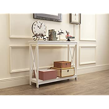 White Finish 3-Tier X-Design Occasional Console Sofa Table Bookshelf