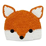 Baby Toddler Cute Fox Animal Design Knitted Hat Crochet Hooded Cap Photography Props Beanies,Gray