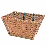 Basil Wicker Jumbo Front Basket w/ Leather Belts for Fastening to Handlebar