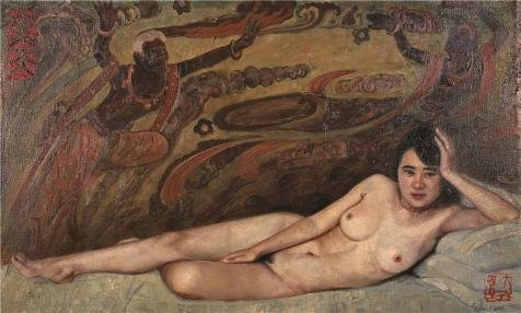 Oil Painting 'Qin Dahu, Nude Woman, 20th Century', 30 x 50 inch / 76 x 127 cm , on High Definition HD canvas prints is for Gifts And Bed Room, Garage And Laundry Room Decoration, artistic