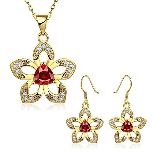 Women Hollow Flower Engagement Jewelry Set Fashion Crystal Pendant Necklace & Dangle Earrings Sets (Homemade Indian Boy Costumes)