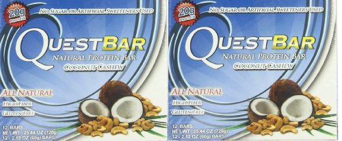 Quest Bar Coconut Cashew, 12-2.12 oz. Bars (Pack of 2)