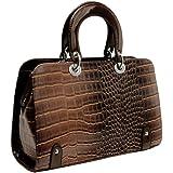 MG Collection MAHDIS Vintage Style Faux Crocodile Office Tote Handbag