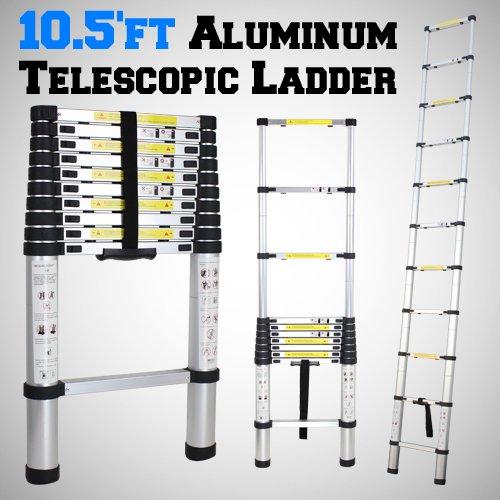 10.5'ft Portable Aluminum Telescopic Telescoping Ladder Extend Extension