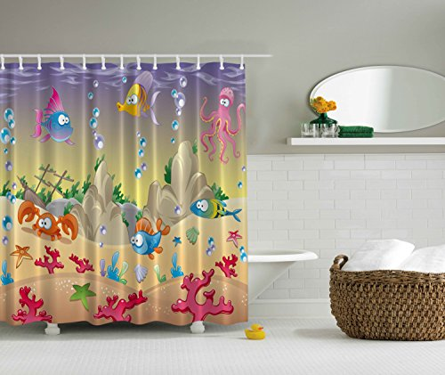 Kids Shower Curtain by Ambesonne, Cartoon Sea Animals Orange Crabs Family Decor Beach Blue Stars Octopus Shells Nautical Tropical Underwater Art Babies Girl Nursery Bath, Purple Beige Fuchsia Green