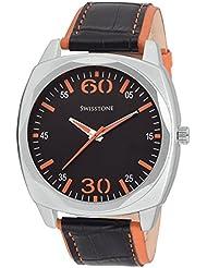 Swisstone GR031-BLK-ORN Black Dial Black-Orange Leather Strap Analog Wrist Watch For Men/Boys