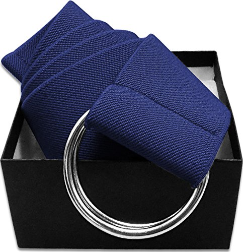 LUNA Ladies Elastic D-Ring Belt - Solid Navy