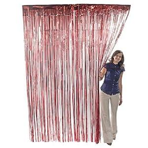 Red Metallic Fringe Door Curtain Party Decor 3' x 8'